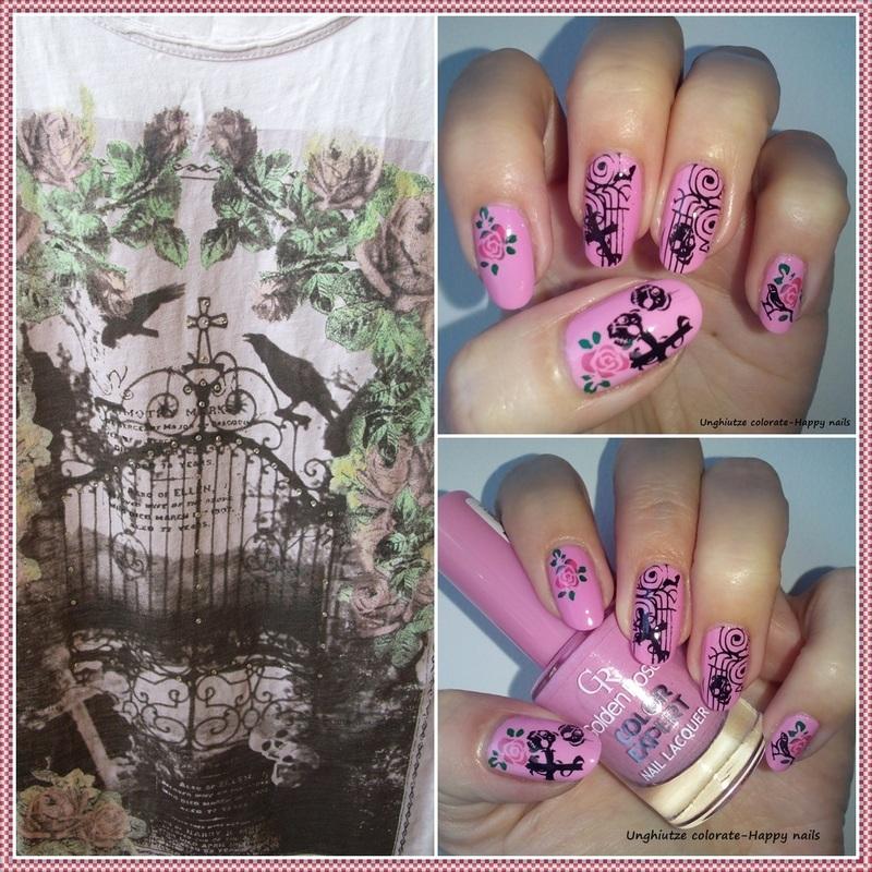 Pink Halloween nail art by Oana  Alexandru