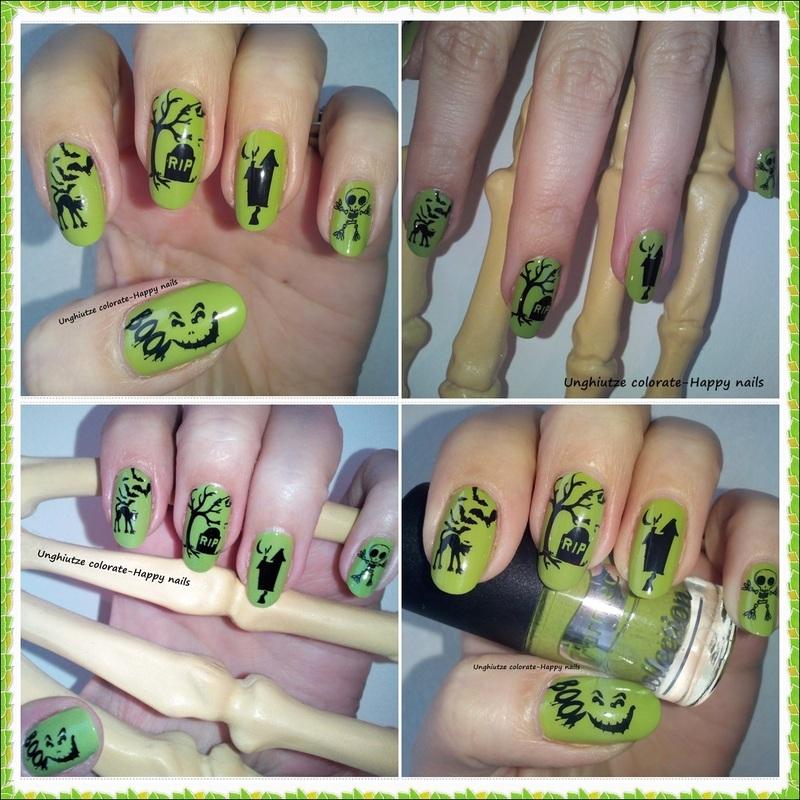 Halloween in Green nail art by Oana  Alexandru