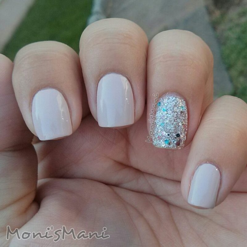 simple nude with glitter accent nail nail art by Moni\'sMani ...