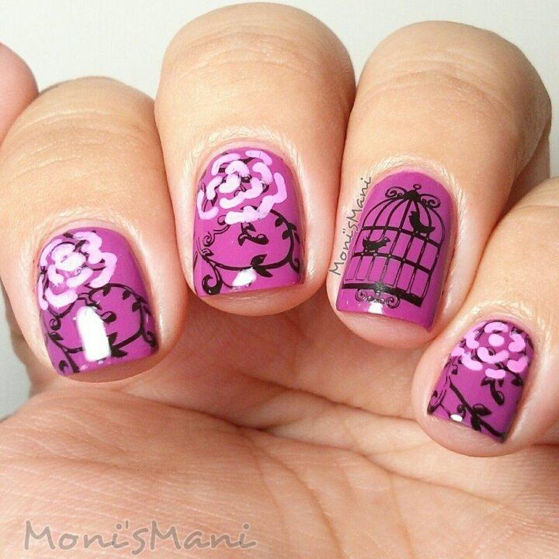 purple romantic nail art by Moni'sMani