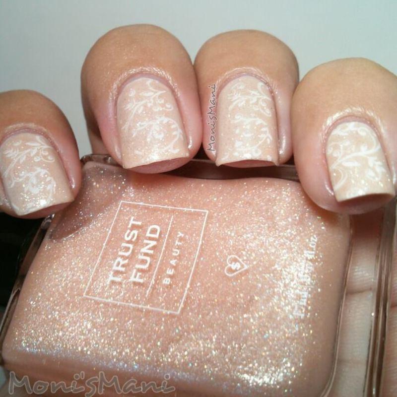 stamped wedding mani nail art by Moni'sMani
