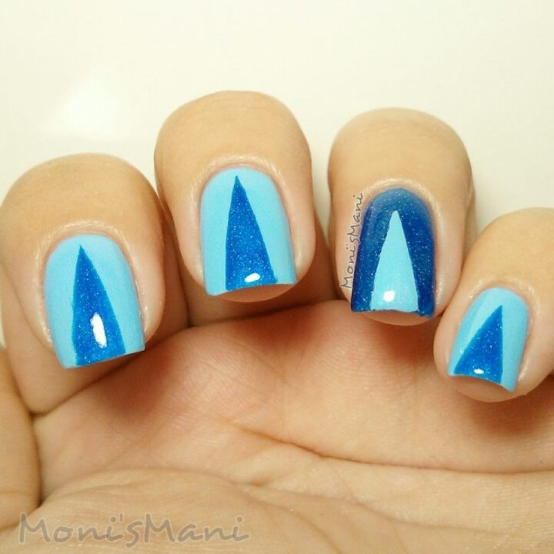 triangles and blues nail art by Moni'sMani