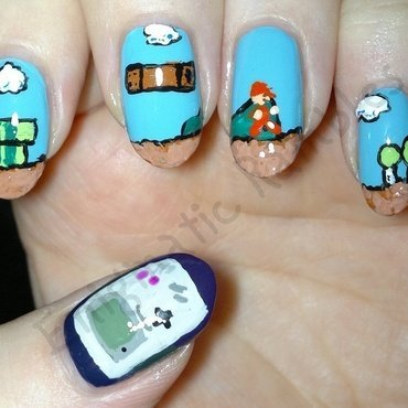 Supermario Gameboy 1980's Nails nail art by Enigmatic Rambles