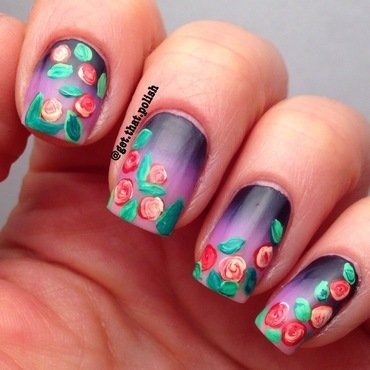 Roses in Bloom nail art by Luciana