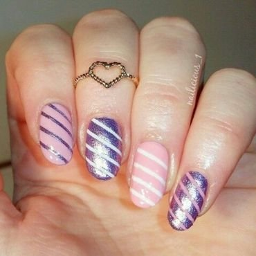 Candy-colored stripes nail art by nailicious_1