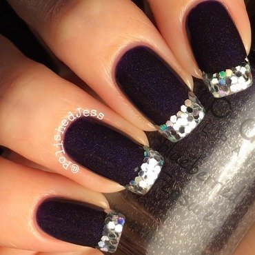 Glitter Tips  nail art by PolishedJess