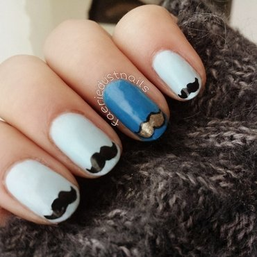Movember Moustaches nail art by Shirley X.