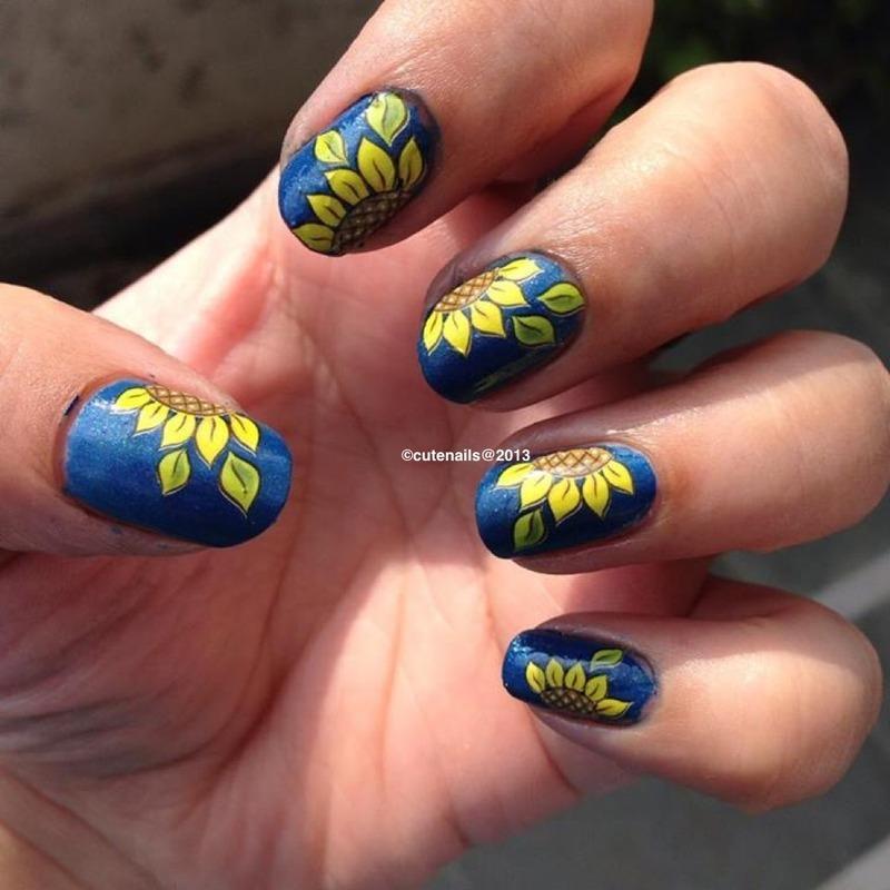 Sunflower nail art nail art by Puja Malhotra