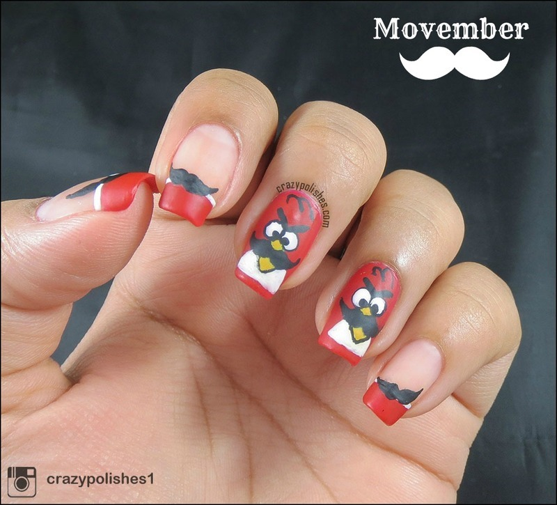 Angry Birds Mustache for Movember nail art by CrazyPolishes (Dimpal ...