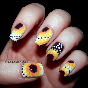 Sunflowers  nail art by Easynailartideas