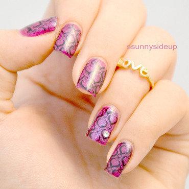 Violet stamping nail art  nail art by ssunnysideup (Sabrina)