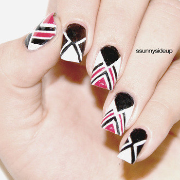 Taped white and black mani nail art by ssunnysideup (Sabrina)