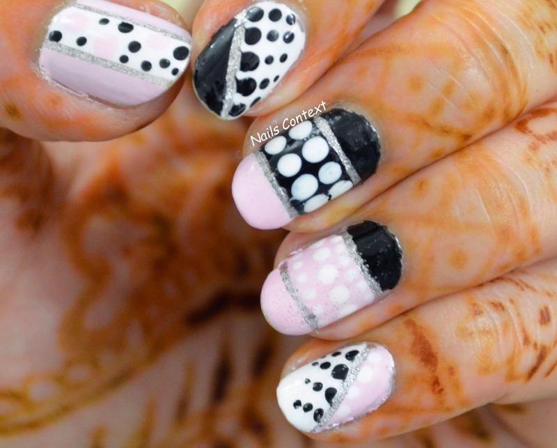Pink and Black nail art by NailsContext