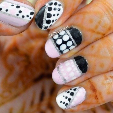 Pink and Black nail art by NailsContext