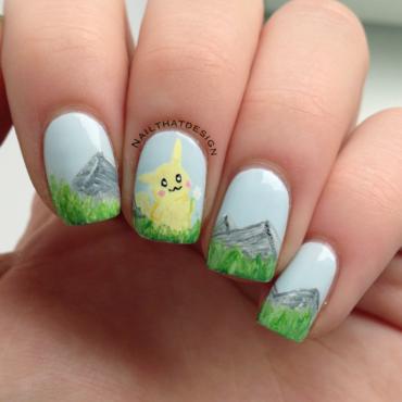 Pikachu ~  nail art by NailThatDesign