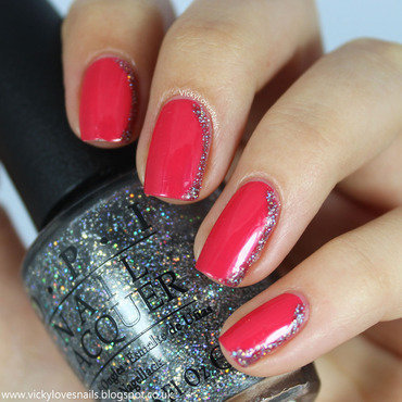 Glitter Side French nail art by Vicky Standage