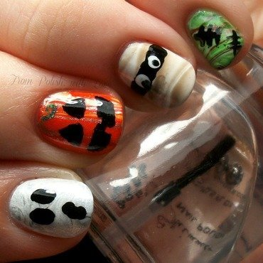 Spooky Character Watermarble nail art by Dani