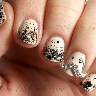 Mustached Monocle nail art by Dani
