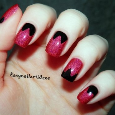 Black & Red nail art by Easynailartideas