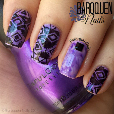 Geometric Swirl nail art by BaroquenNails