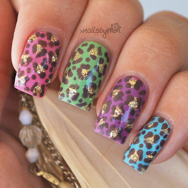 Colorful Leopard Print nail art by xNailsByMiri