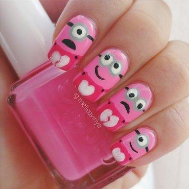 Pink Minions nail art by melisa viriya