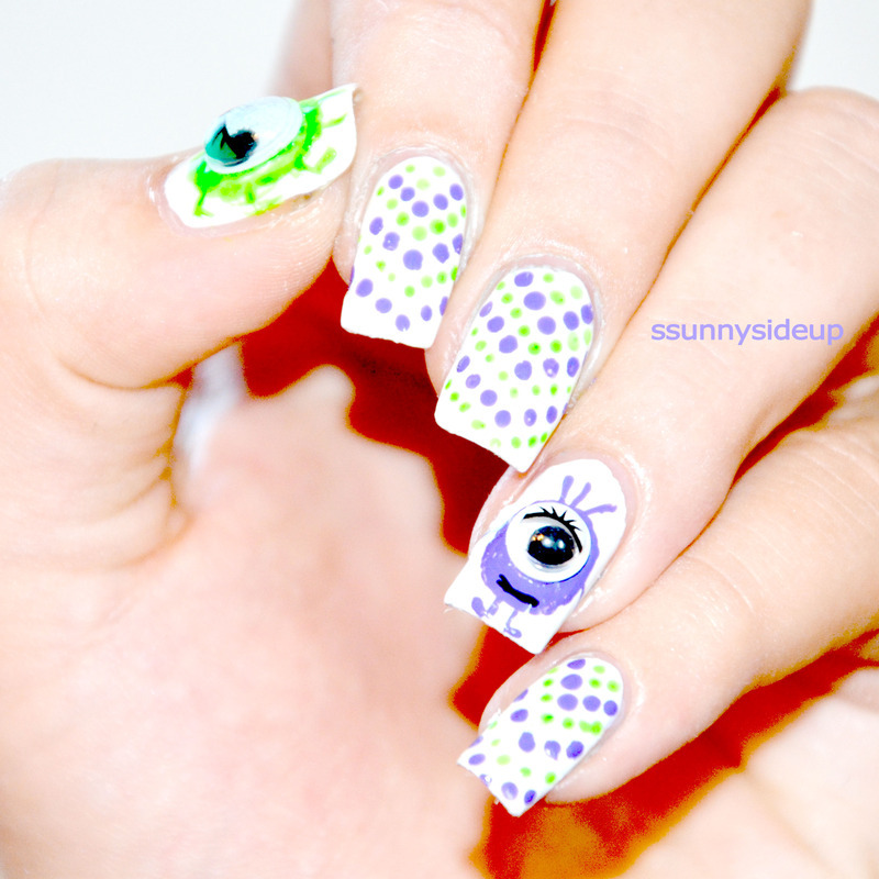 Monsters nail art by ssunnysideup (Sabrina)