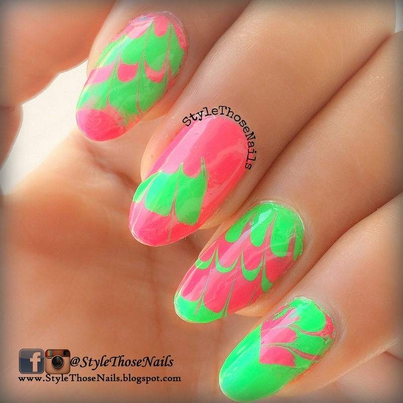 DIY- WaterMarble Nail Decals/ Polybag Marbling nail art by Anita Style Those Nails