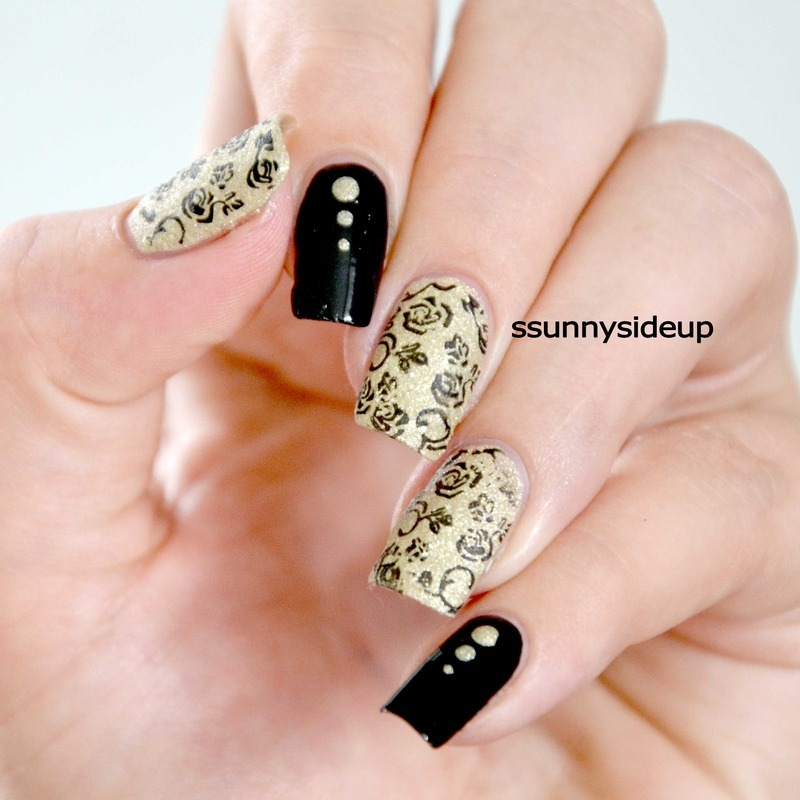 Stamped roses nail art by ssunnysideup (Sabrina)