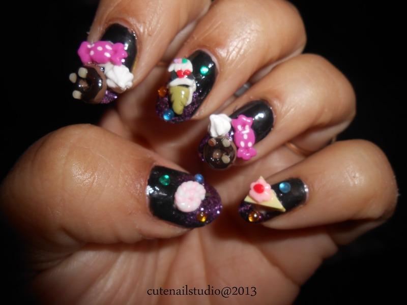 Sweets and donut nailart nail art by Puja Malhotra