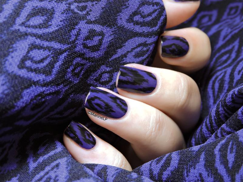 Purple ikat nail art by Marine Loves Polish