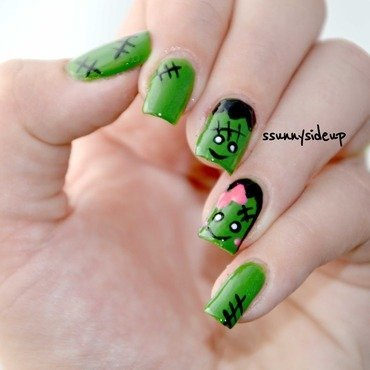 Meet the Frankensteins nail art by ssunnysideup (Sabrina)