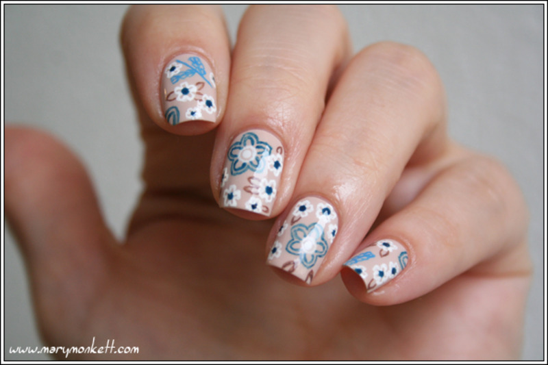 Floral mani nail art by Mary Monkett