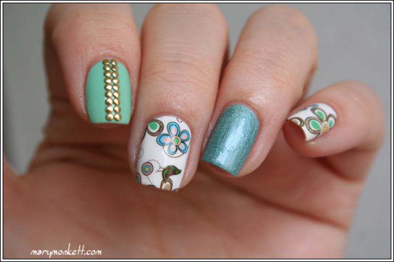 Skitlette à la menthe nail art by Mary Monkett