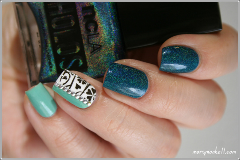 Teal The End nail art by Mary Monkett