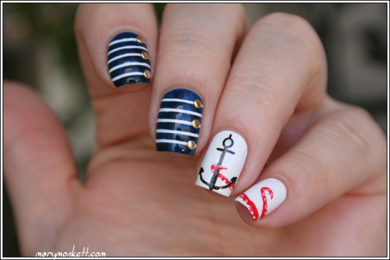 Navy nail art by Mary Monkett