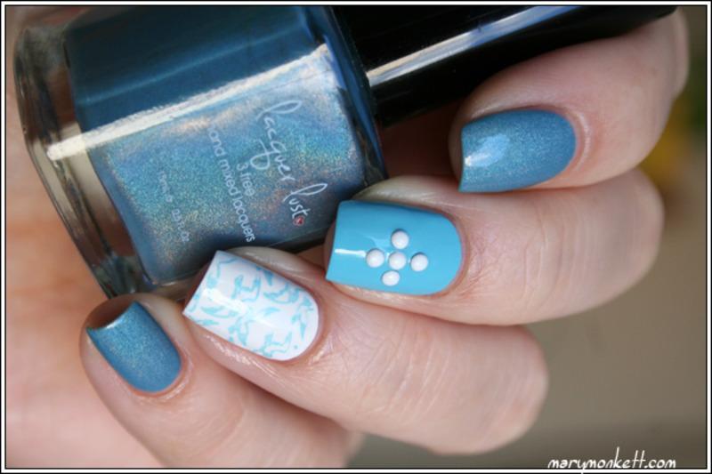 Aquamarine nail art by Mary Monkett