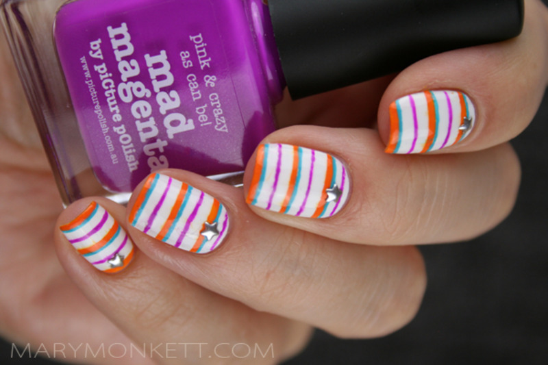 Rayures tricolores nail art by Mary Monkett