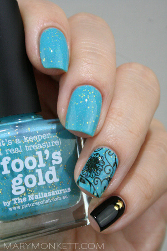 Fool's Gold nail art by Mary Monkett