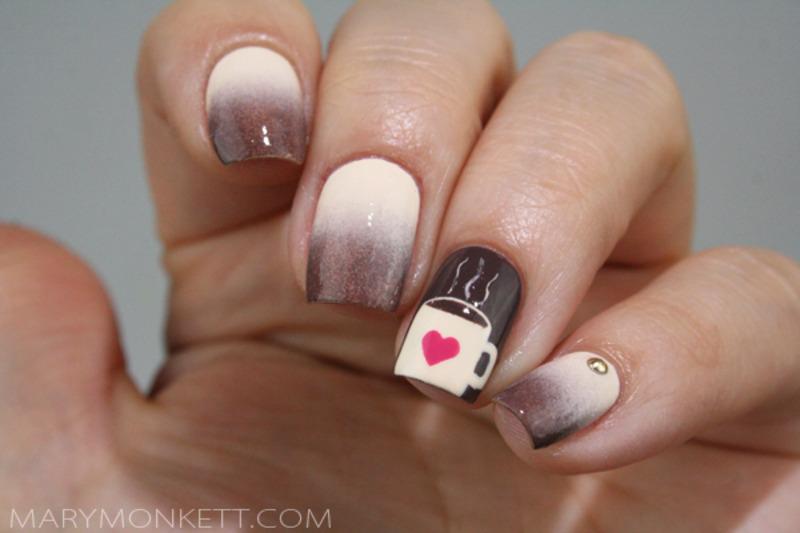Chocolat chaud nail art by Mary Monkett