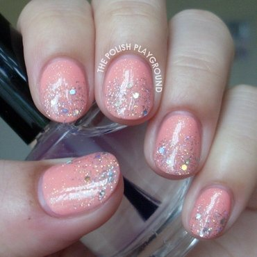 Pink and Silver Glitter Gradient nail art by Lisa N