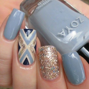Blue and Nude Tape Mani nail art by Ann-Kristin