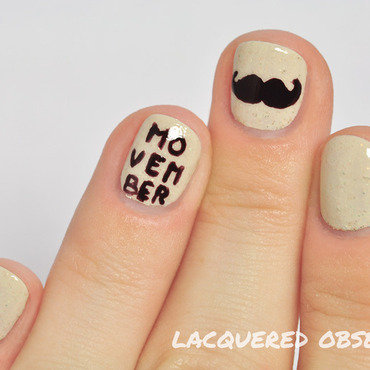 Movember moustache nail art by Lacquered Obsession