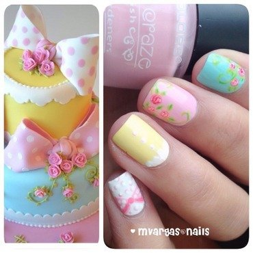 Cake inspired  nail art by Massiel Pena