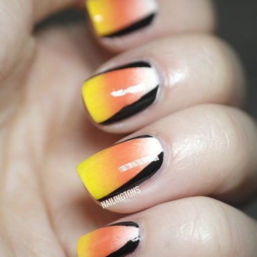 NPQ Challenge Candy Corn nail art by Nailingtons