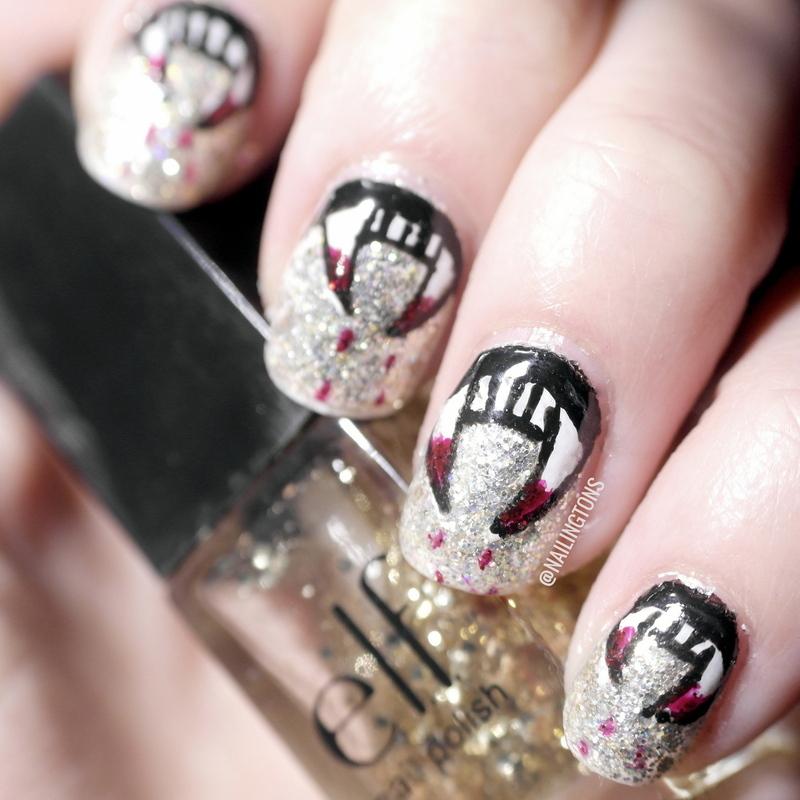 Halloween Vampire Teeth Glitter Nails nail art by Nailingtons ...