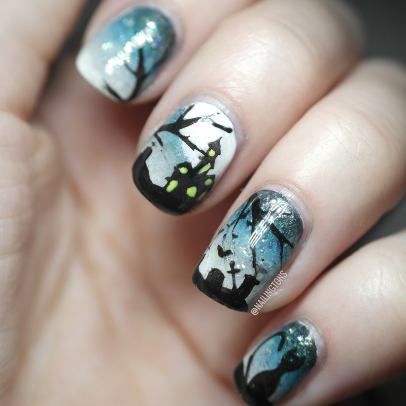 NPQ Challenge Halloween Scenery - Graveyard Nails nail art ...