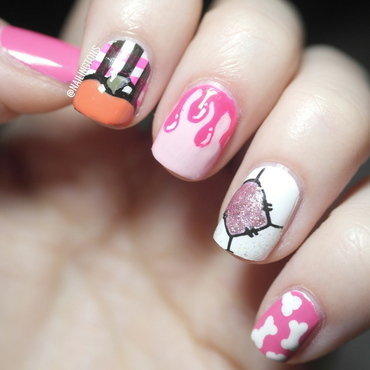 Pink Patchwork Blood Drip Bone Halloween Nail Art nail art by Nailingtons