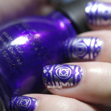 Purple & Silver Cheeky Jumbo Plate 10 Stamped Nail Art nail art by Nailingtons