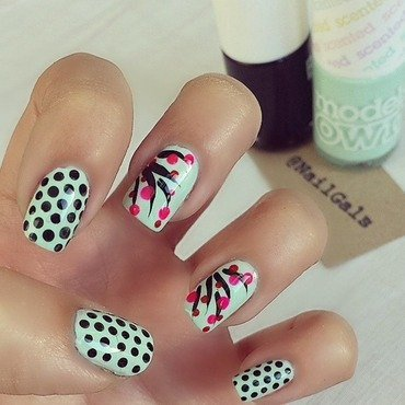 Mix n Match cherry blossom and dots nail art by NailGals
